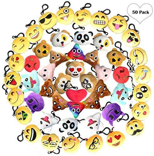 Emoji Keychain Plush Mini Pillow Decoration, Kids Birthday Party Supplies Favors for Girl, Lot Key Chain Pendant Set - One Kit Cute Emoticon Toy (50 Pack 2 Inches)