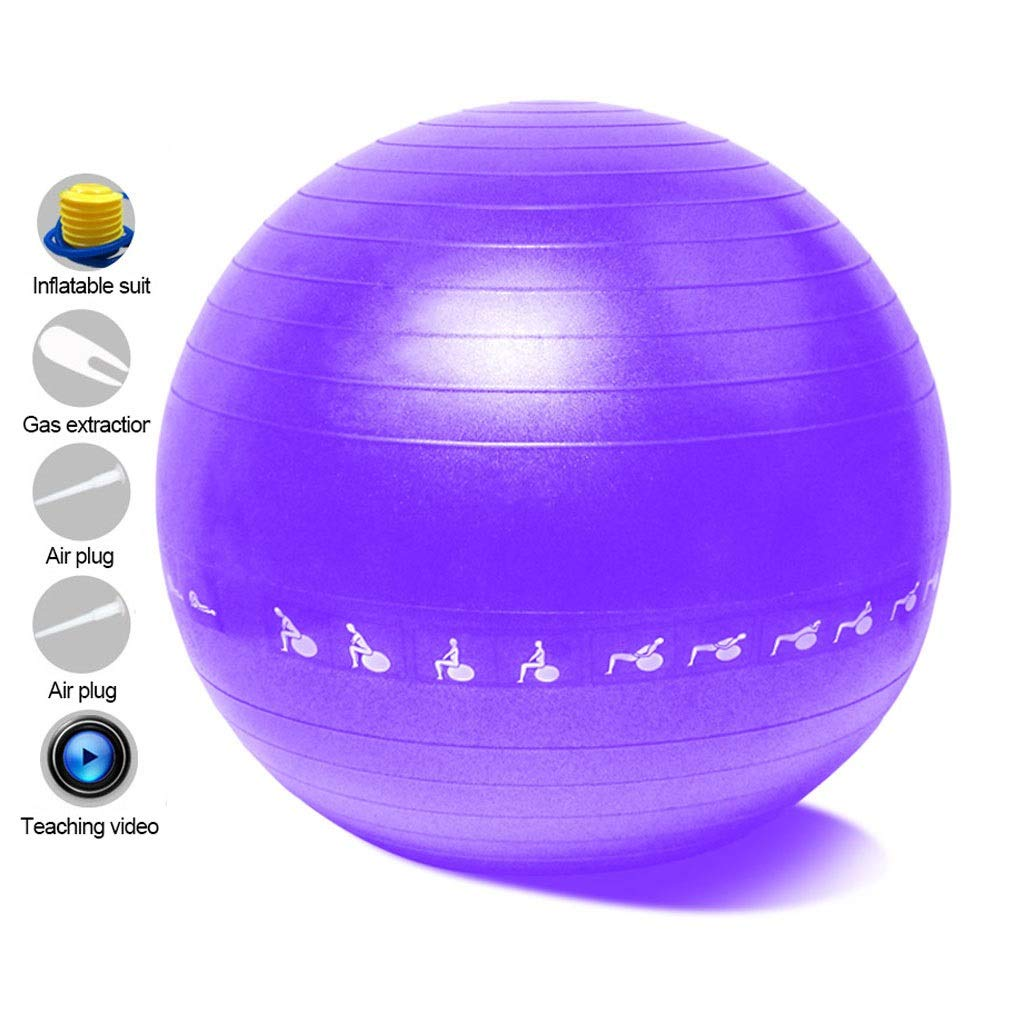 Exercise Yoga Ball, Anti-Burst Exercise Swiss Ball with Pump for Yoga Pilates Fitness Physical Therapy Birthing Pregnancy Gym and Home (Color : Purple, Size : 55cm)