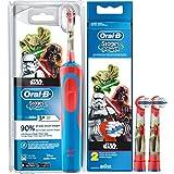 SPAR-SET: 1 Braun Oral-B Stages Power AdvancePower Kids 900 TX elektrische Akku Zahnbuerste Kinder 3 J. D12.513.K Star Wars + 2er Stages Aufsteckbürsten (Yoda Darth Vader)
