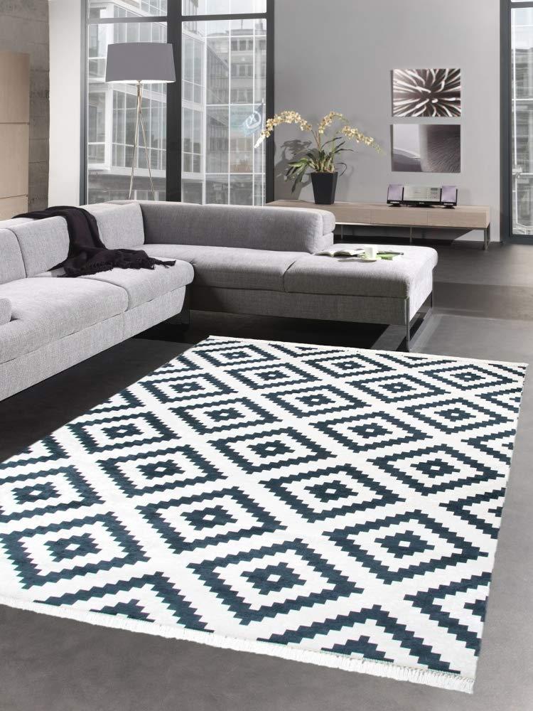Carpetia Waschbarer Teppich Print Teppich Küchenteppich schwarz skandinavisches Muster Größe 80 x 300 cm