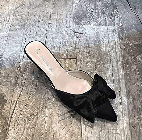 Oudan Summer Womens flip Flops Fine with High Heel Waterproof Color : Rose, Size : 7 US//37.5 EU//4.5 UK