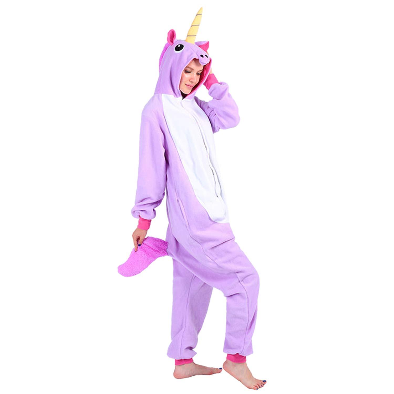 WhiFan Pigiama Unicorno Donna Uomo Cosplay Animato Costume Camicie da Notte Carnevale Halloween