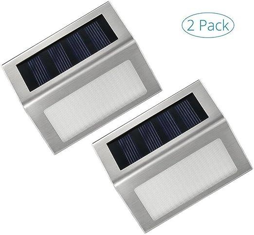 Lámpara solares Exterior,Impermeable Luz Solar,Iluminacion solar de Caminos,Seguridad,para Pared,Escaleras,Jardín con acero inoxidable(1 Pack de 2 piezas): Amazon.es: Hogar