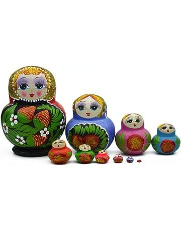 Proglam - Muñecas Rusas de Madera de 10 Capas, Juguete Colorido Hecho a Mano,
