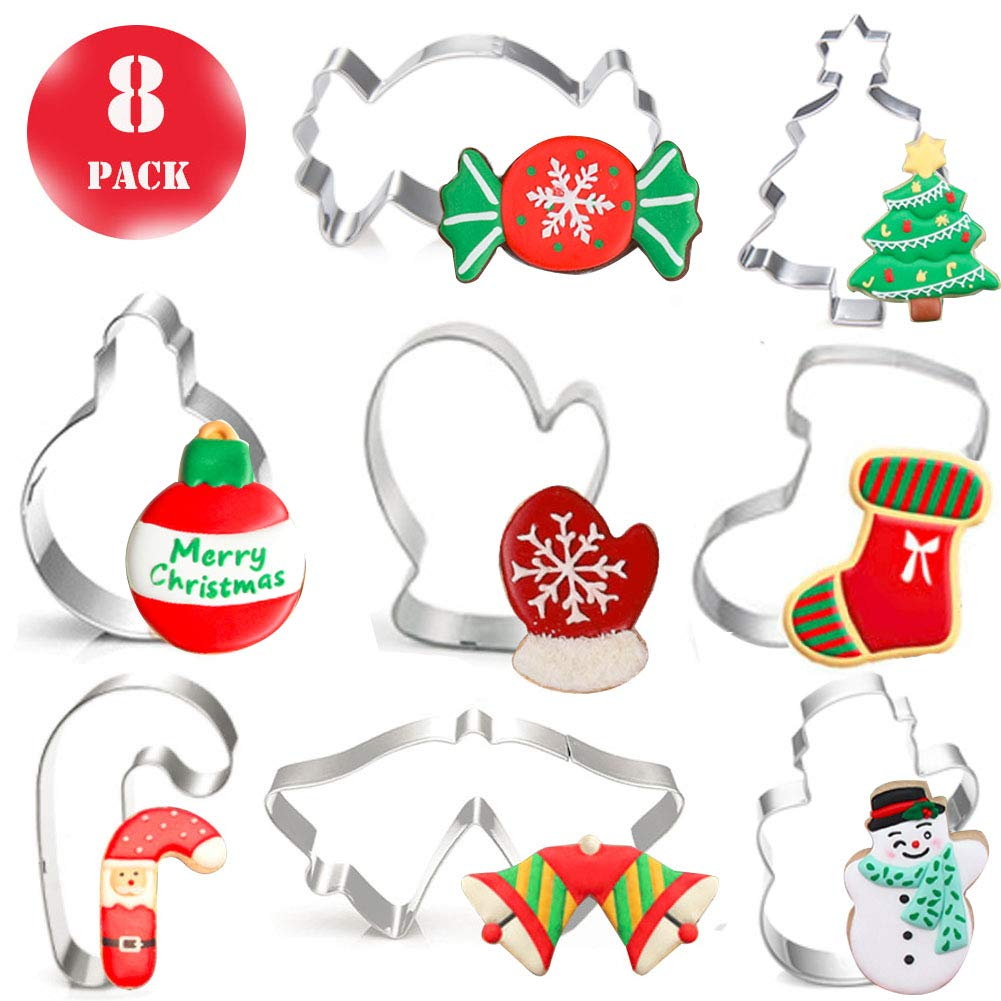Christmas 8pcs Cookie Cutters Set for Holiday - Stainless Steel Cookie Mold Tools for Fondant Biscuit, Cake, Fruit, Vegetables, or Dough Cut