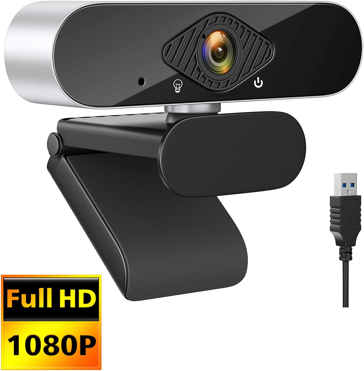 1080P Webcam with Microphone,HD USB Streaming Webcam for Desktop PC Computer Web Camera with 120-Degree Wide View Angle,Plug and Play Desktop Webcam for Video Calling Recording Conferencing,Gaming