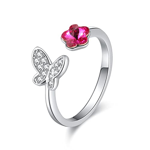 Swarovski elemento anillo rosa flores y mariposas con cristales de Swarovski, ajustable M tamaño,