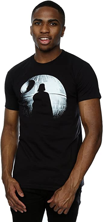 Star Wars Hombre Rogue One Death Star Darth Vader Silhouette Camiseta: Amazon.es: Ropa y accesorios
