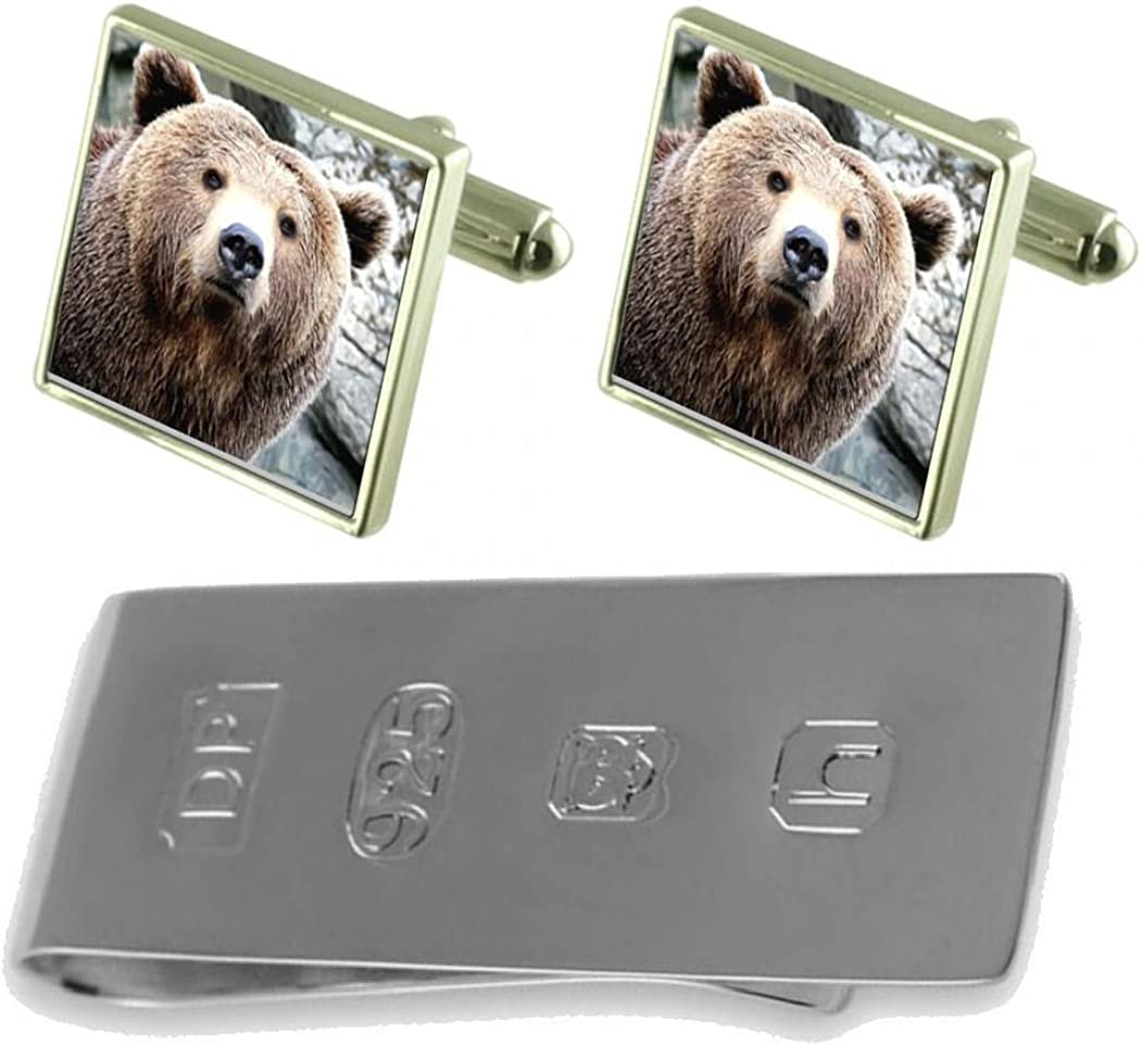 Wild Brown Bear Cufflinks /& James Bond Money Clip