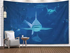 Bisead Wall Art Tapestry for Bedroom, Map Art Tapestry 80x60 inchs Shark Swimming Camera in Aquarium silvertip Toward Sentosa Singapore Wall Hanging Gifts for Bedroom Dorm Décor