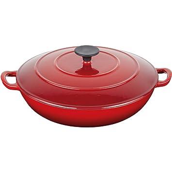 Master Class - Cacerola (3,5 litros) de hierro fundido esmaltada, redonda, con tapa, color rojo: Amazon.es: Hogar