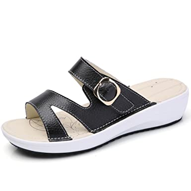 863a23b1e73d3 Image Unavailable. Image not available for. Color  women flat beach slippers  round toe comfortable ...