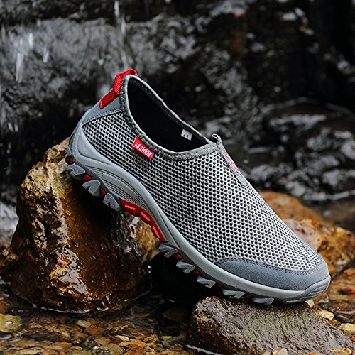Monrinda Mens Mesh Slip On Running Sneakers Breathable Shock Absorbing Trainers Non Slip Hiking Trekking Shoes Outdoor Low-Top Casual Walking Shoes Jogging Fitness Light Grey Red onLbBL8Pd