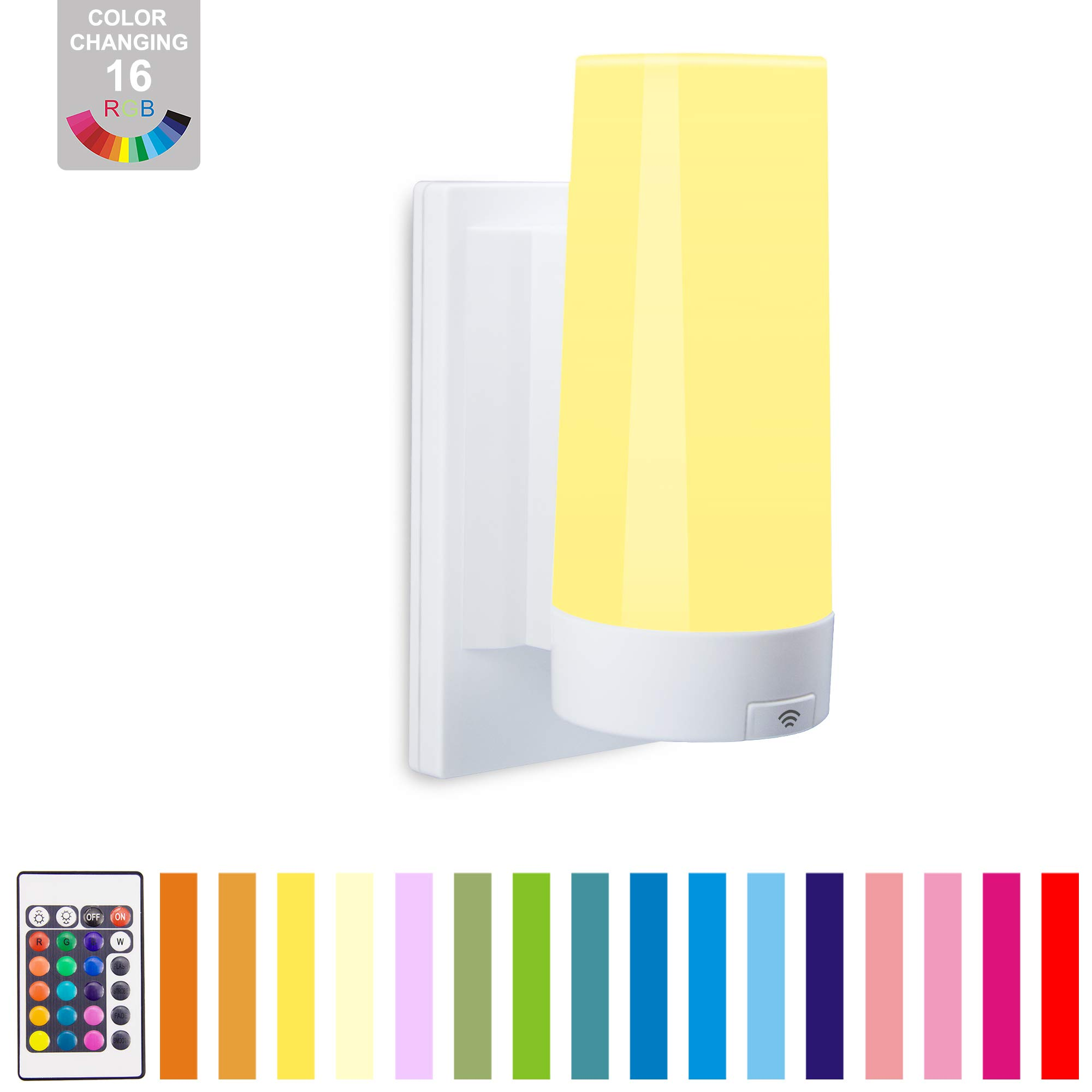 BIGLIGHT Wall Sconce Lighting Fixture Battery Powered Wireless Bathroom Vanity Lighting Stick on Wall Lamp Color Changing Lights with Dimmer & Remote LED Night Light for Hallway Porch Kitchen Bedroom