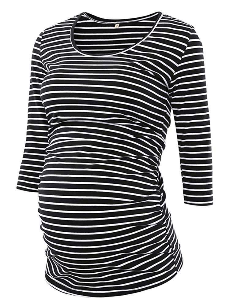 Black White Stripe BBHoping Women's Side Ruched 3 4 Sleeve Maternity Scoopneck T Shirt Top Pregnancy Clothes