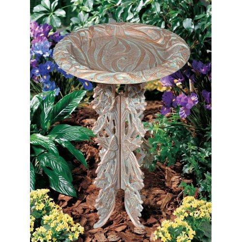 Whitehall Products Butterfly Birdbath and Pedestal, Oil Rub Bronze by Whitehall