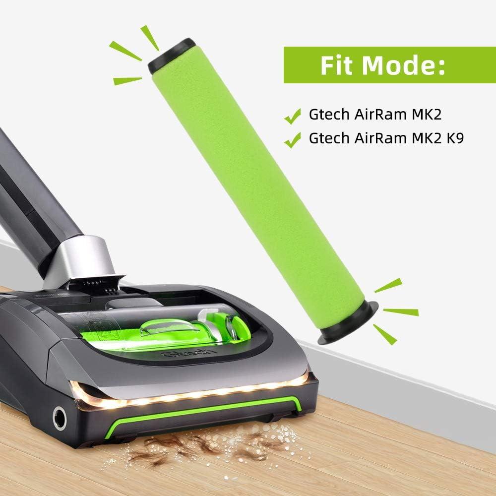 E-More confezione da 2 filtro Dirt Bin stick per Gtech g-tech Airram MK2 K9 cordless aspirapolvere