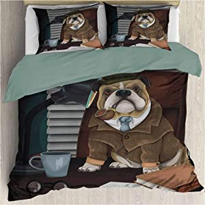Bedding Printed Comforter Set - Traditional English Detective Dog with a Pipe and Hat Sherlock Holmes Image - Decorative 3 Piece Bedding Set with 2 Pillow Shams - Queen Size - Multicolor