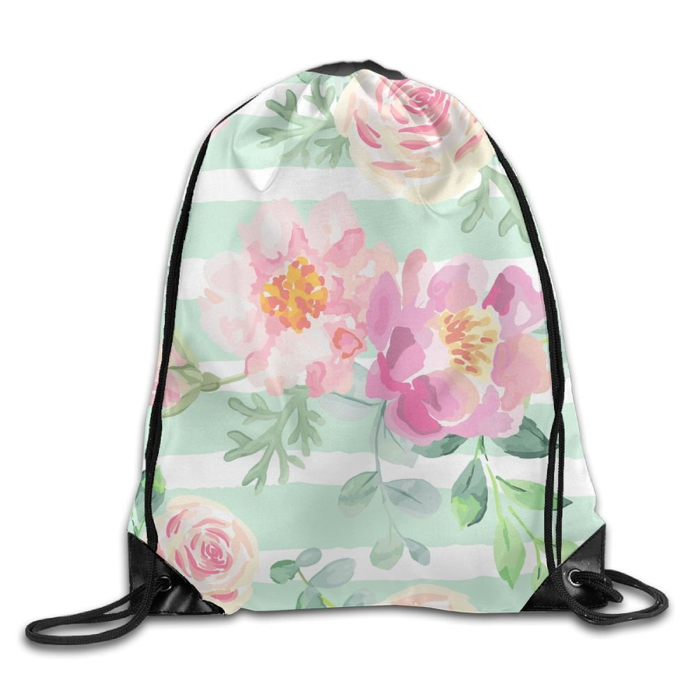 VIMUCIS Watercolor Peony Drawstring Backpack Rucksack Shoulder Bags Training Gym Sack For Man And Women