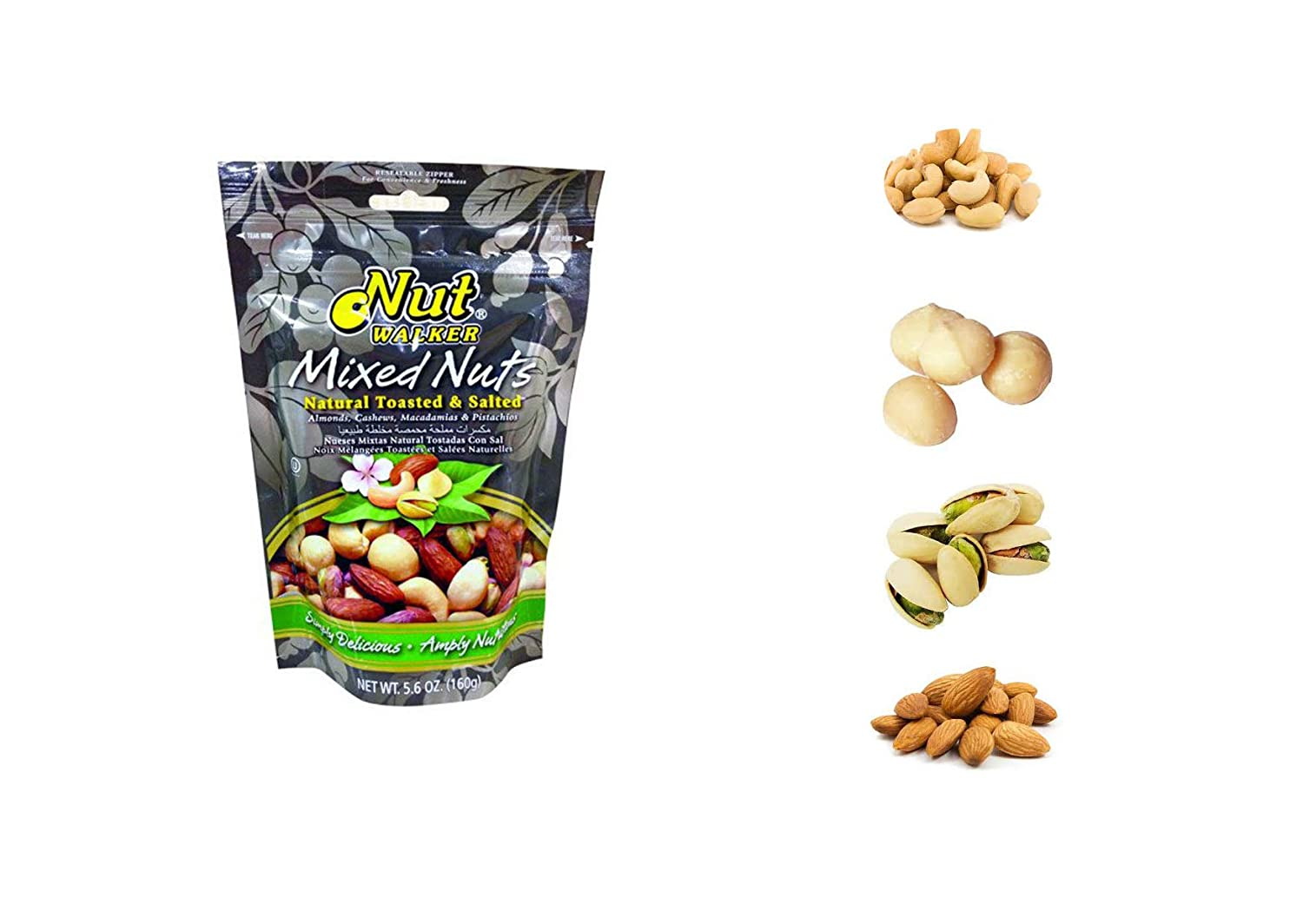 Mixed Nut Almonds, Cashews, Macadamias,Pistachios, Nut Gift Basket 4-section Elegant Nut Gourmet Christmas Gift Great for Thanksgiving