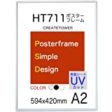 ポスターフレームHT711 軽量 A2 サイズ 594x420mm 表面UVカットシート 【ホワイト】