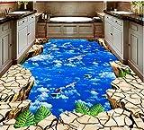 BZDHWWH 3D Flooring White Clouds Sky Birds 3D Wallpaper Self-Adhesive Vinyl Flooring Living Room Bedroom Photo Wallpaper,60Cm X 90Cm