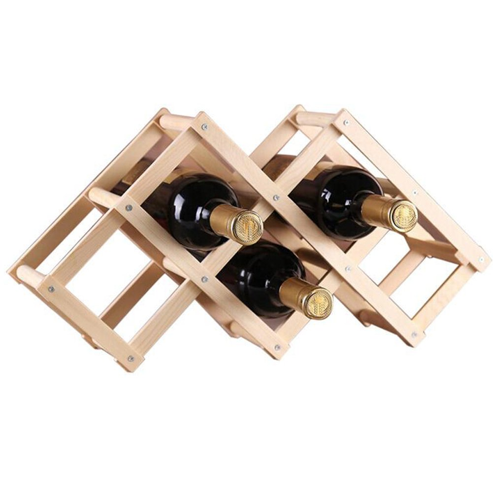 Ireav Wooden Red Wine Rack Beer Foldable 6 Bottle Holder Kitchen Bar Display Shelf Organizer Home Table Decoration