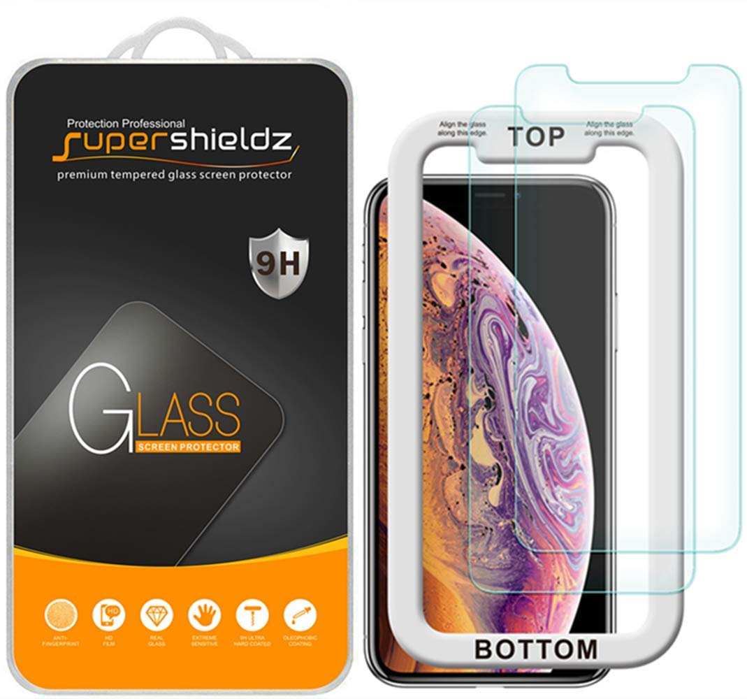 (2 Pack) Supershieldz for Apple iPhone Xs and iPhone X (5.8 inch) Tempered Glass Screen Protector with (Easy Installation Tray), Anti Scratch, Bubble Free