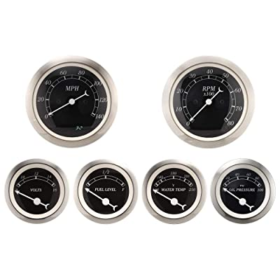 MOTOR METER RACING 6 Gauge Set Classic Instruments Electronic Speedometer Digital Odometer Black Dial: Automotive