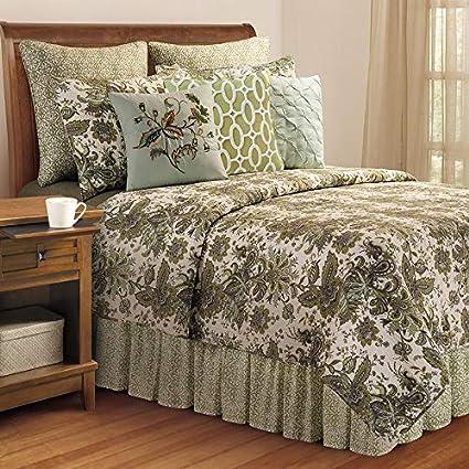 Amazon Com White Green 3pc King Quilt Set Cotton Paisley Floral