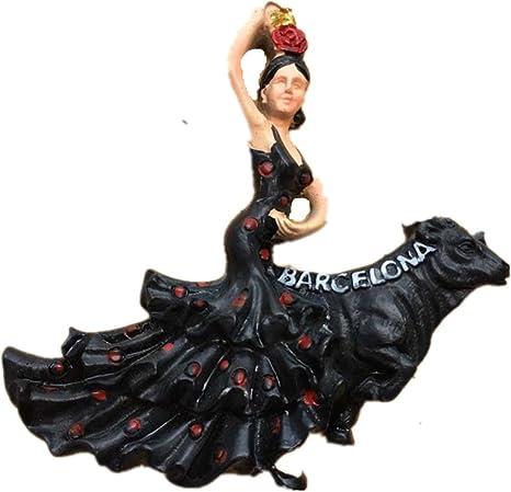 Imán para nevera con diseño 3D de Flamenco Dance de Barcelona España Souvenir, decoración para el hogar y la cocina Flamenco Dance España imán para nevera: Amazon.es: Hogar