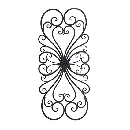 Amazon.com: Adeco Black Scrolled Flower Metal Wall Decor - Art ...