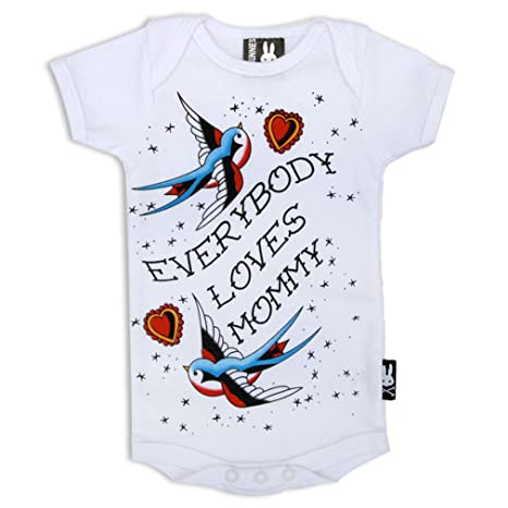 SIX Bunnies Baby Body Old School Tattoo Print – Everybody Loves Mommy Pelele blanco blanco Talla