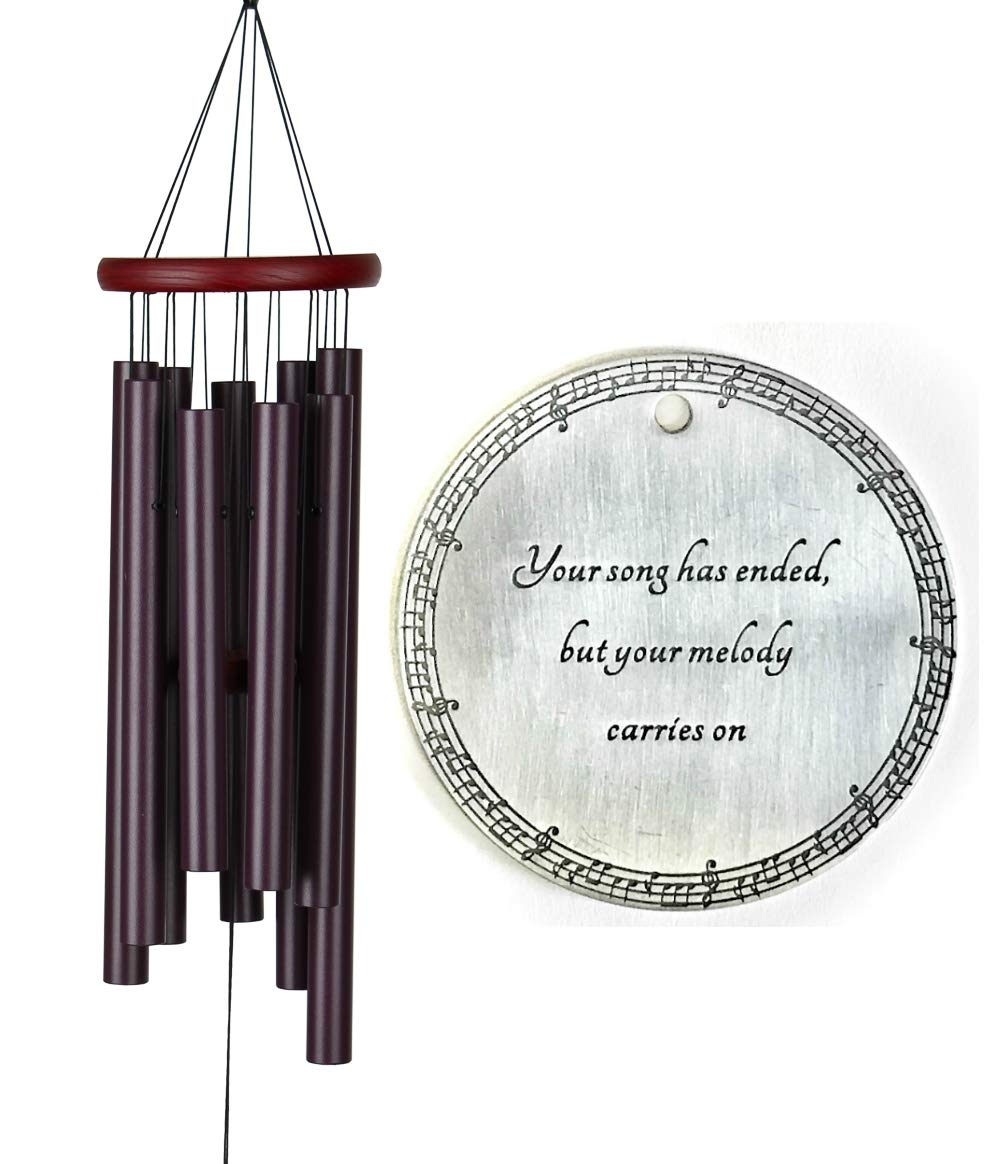 Memorial Wind Chimes 29 inch COMFORT Gift Package Wind Chimes in Memory of Loved One Tuscany Plum Listen to the Wind Memorial Garden
