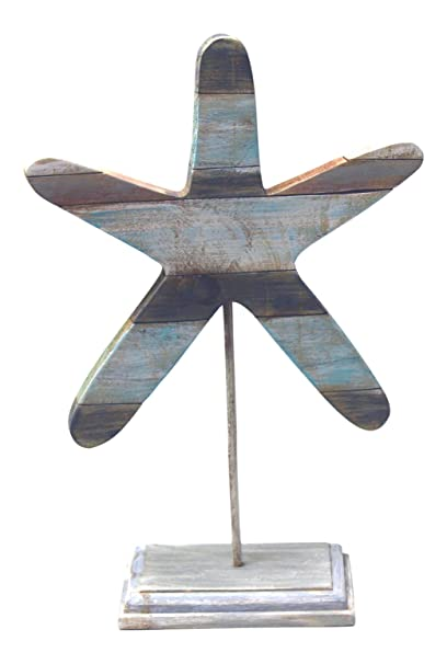 Christmas Tablescape Decor - Whitewashed Starfish Shape Blue Stripe Slatted Wood Figurine  Table Top Decor