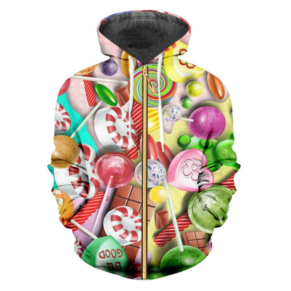 Bonbons Couleurés 6XL Ai Ya-weiyi Homme Zip sweat à capuches Décontracté Couple Bolognaise VêteHommests pour Hommes Vente Manteau Fermeture éclair Imprimée en 3D Couleur Créative Lollipop