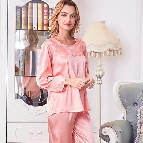 GJM Shop algodón con bolsillos albornoz ---- Primavera Y Verano Hembra Mangas Largas Bata De Baño Cuello ...