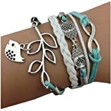 Jovana Fashion Retro PU Leather Alloy Bracelet Wristlet Bangle Wrist Band Hand Chain