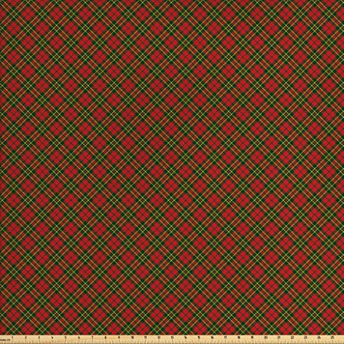 (Ambesonne Checkered Fabric by The Yard, Irish Tartan Plaid Motifs in Christmas Colors Geometrical Crossed Stripes, Decorative Fabric for Upholstery and Home Accents, 3 Yards, Red Emerald Yellow)