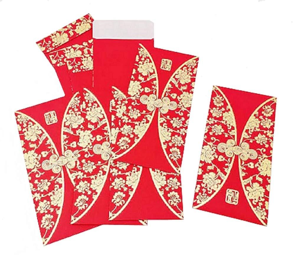 DMtse, buste con fantasia tradizionale cinese di dimensioni 9x 16cm (l x h), buste porta soldi, per regalo portafortuna Lai see, colore rosso, confezione da 50 pezzi