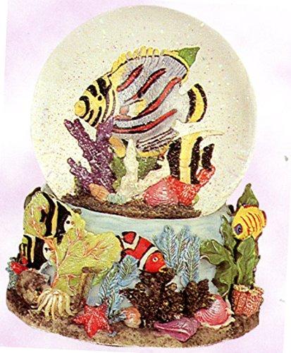 【驚きの値段】 Tropical 4 Fish Tropical & Ocean Ocean View Snow Globe – Sculptured樹脂水ボール音楽ボックス5 3/ 4