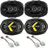 Kicker 41DSC693 D-Series Coaxial 3-Way Speaker with 1/2 Tweeter & 2 Mid Metra 72-6514 Speaker Harness for Select Chrysler/Dodge Vehicles