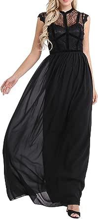 FEESHOW Summer Wedding Floral Lace Cap Sleeve Bridesmaid Chiffon Maxi Dress Evening Gown