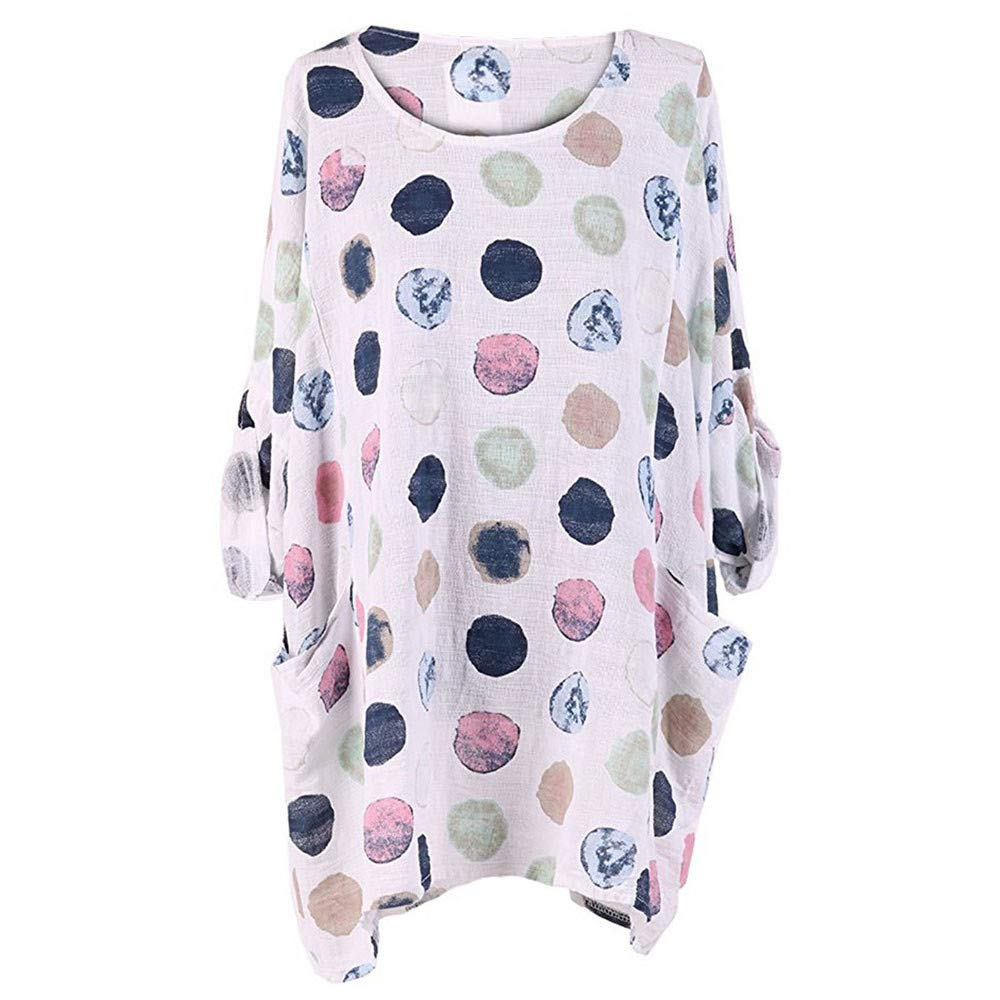 Womens Girls Casual Cuffed Long Sleeve Shirts Plus Size O-Neck Polka Dots Pocket Loose Pullover Blouse Tops