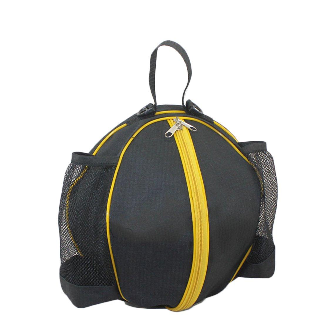 iTECHOR Duarble Roundedバスケットボールトレーニングsingle-shoulderバッグ調節可能なサッカースポーツストレージバッグ B077TLW7SJ Black + Yellow