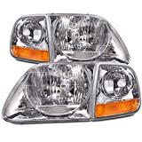 Headlights Depot Replacement for Ford F-150/Expedition Lightning-Style 4-Piece Headlights w/Headlight Bulbs Installed