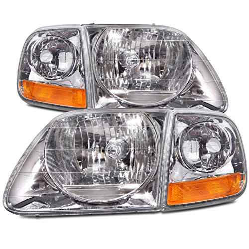 Headlightsdepot Chrome Housing Halogen Headlights Compatible With Ford Expedition F 150 Lightning Style Includes Left Driver And Right Passenger Side Headlamps With Corners