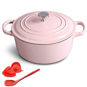 M-cooker 4.5 Quart Enameled Cast Iron Pot with Self Basting Lid,Classic Mint Blue Enamel Dutch Oven (Pink)