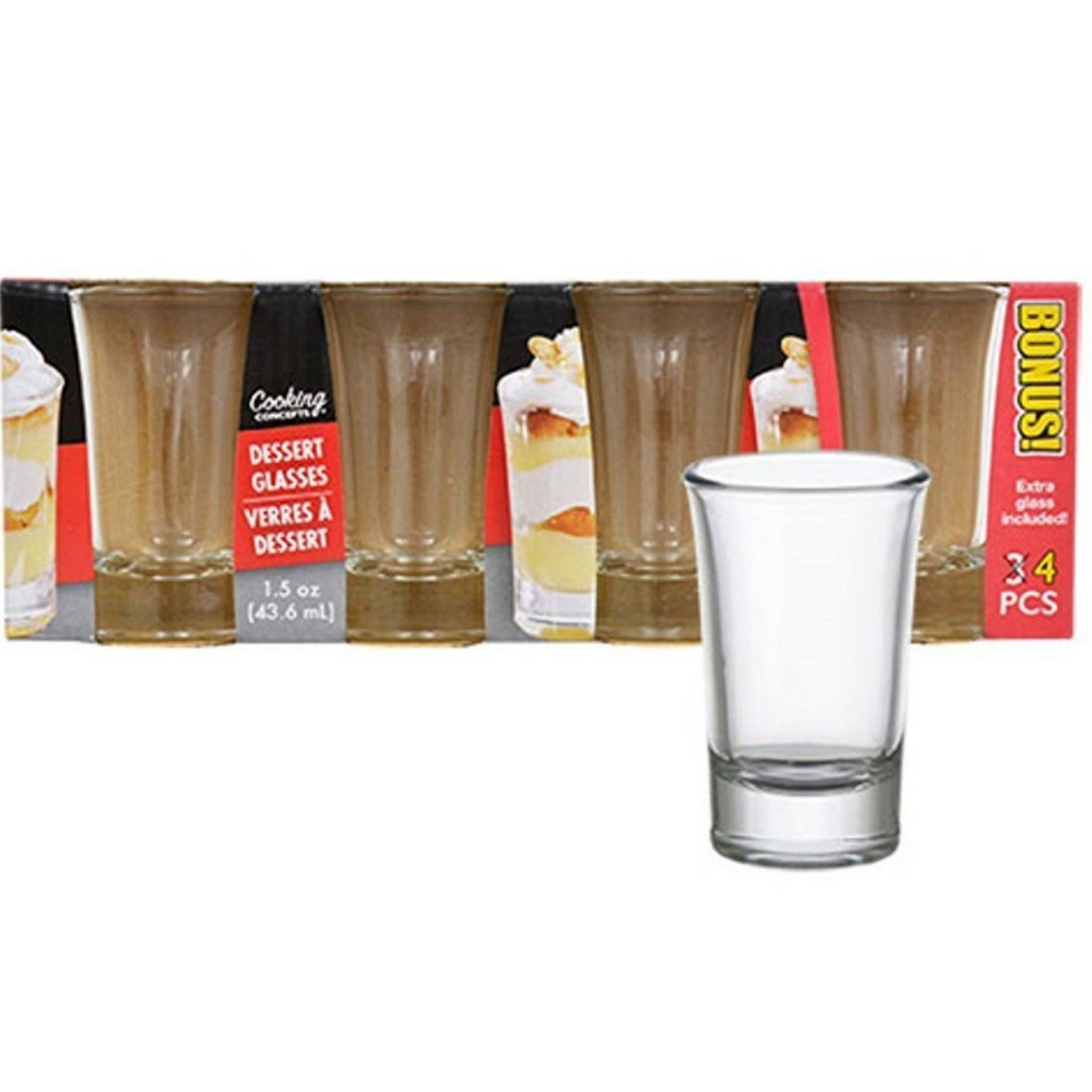 1.5-oz. Dessert Shot Glasses, 4-Pack