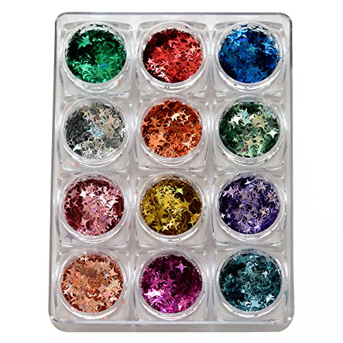 Confetti Cross Star Glitter Sparkling Colorful Design Sequins Face Decal For Women Makeup Body Art Accessory Supply 12 Colors Set by TEEKME